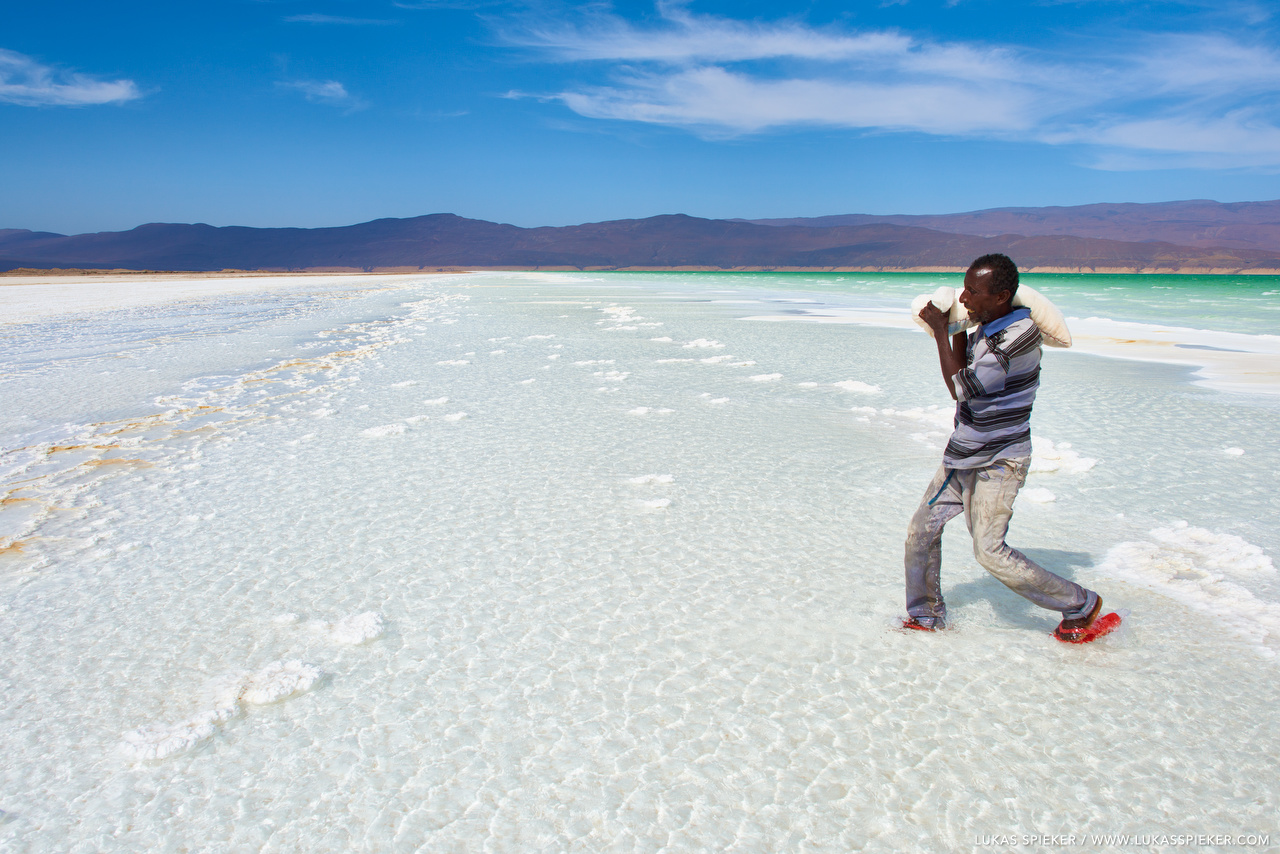 Aras harvests salt from Lac Assal in Djibouti. Salt concentration in Lac Assal reaches 35 percent, ten times the salinity of the sea, making it the second most saline lake in the world after Don Juan Pond in Antarctica.