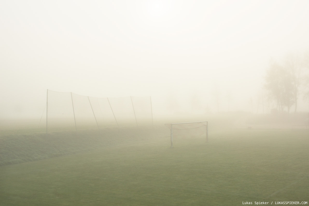 A footballfield in the mist